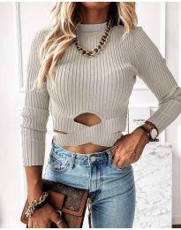 Блуза - код 4089 - сиво