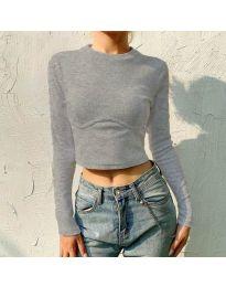 Блуза - код 1124 - сиво