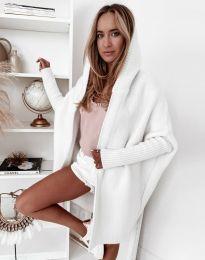 Дамска дълга плетена жилетка с качулка в бяло - код 2464