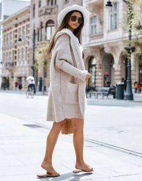 Дамска дълга плетена жилетка с качулка в бежово - код 0577