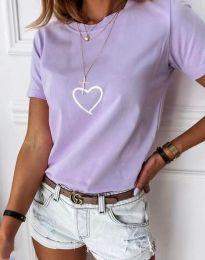 Дамска тениска в светлолилаво - код 3701