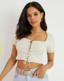 Къса дамска блуза с връзки в бяло - код 1297