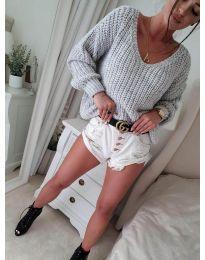 Блуза - код 8768 - сиво