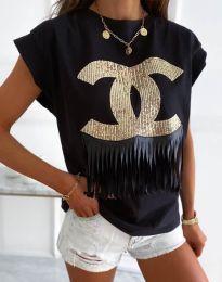 Тениска в черно с принт - код 4713