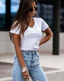 Дамска тениска с надпис в бяло - код 4500