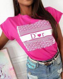 Тениска с ефектен принт в цвят циклама - код 11944