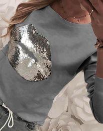 Блуза - код 3963 - сиво