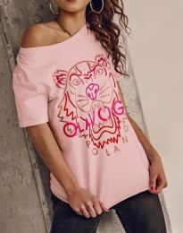 Атрактивна тениска с принт в розово - код 11721