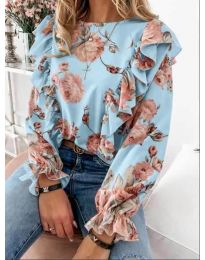 Блуза - код 4256 - светло сина