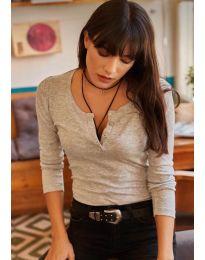 Блуза - код 11495 - 3 - сиво