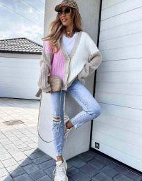 Атрактивна свободна плетена дамска жилетка в розово и бежово - код 9251 - 4