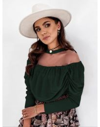Блуза - код 1812 - темно зелена
