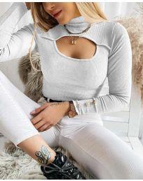 Блуза - код 1591 - сиво