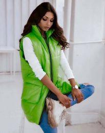 Дълъг дамски елек с цип в светлозелено - код 7295