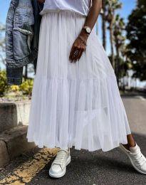 Разкроена дамска пола в бяло от тюл - код 1130
