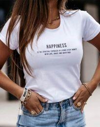 Тениска с принт в бяло - код 4459