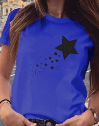 Дамска тениска в синьо с принт - код 3592