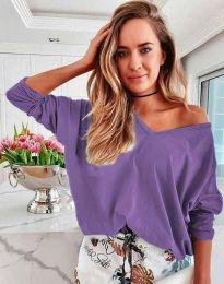 Дамска свободна блуза с паднало рамо в лилаво - код 3972