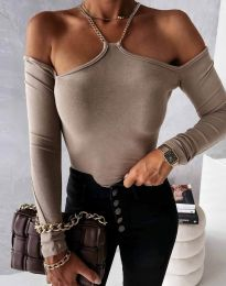 Атрактивна дамска блуза с голи рамене в бежово -  код 12049