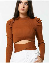 Блуза - код 4519 - кафеава