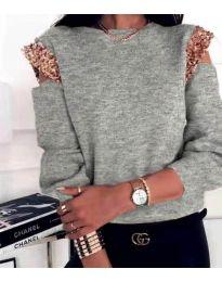 Блуза - код 1539 - сиво
