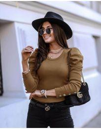 Блуза - код 4448 - кафеава