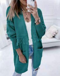 Ефектна дълга плетена дамска жилетка в зелено - код 4873