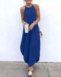 Дълга дамска рокля в синьо - код 17500