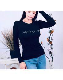 Дамска блуза с надпис в тъмносиньо - код 3338
