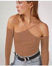 Блуза - код 8063 - кафеава