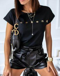 Дамска тениска в черно с надпис - код 4318